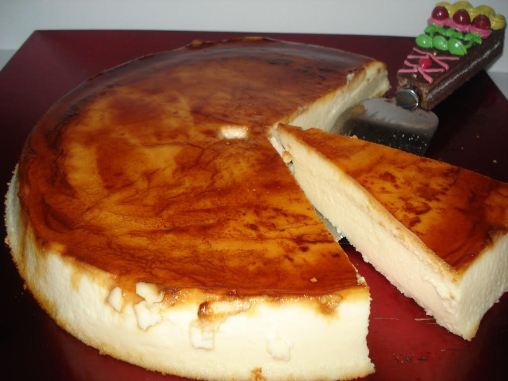 receta facil de tarta de queso fria con caramelo